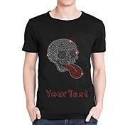 strass personalizzato cotone maniche corte da uomo modello t-shirt teschio d'argento