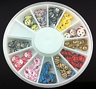 12 Kinds Fimo Slice Cartoon Series Nail Art Decoration(Random Pattern)