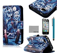coco fun® blauwe wolf patroon pu lederen full body case met screen protector, staan ​​en stylus voor de iPhone 4 / 4s