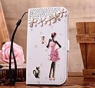 Diamant-roten Rock Mädchen PU-Leder Ganzkörper-Case mit Ständer und Card Slot für Samsung Galaxy S4 i9500