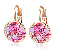 Roxi Fashion Austrian Crystal Rose-Gold Pink Zircon Alloy Clip Earring(1 Pair)