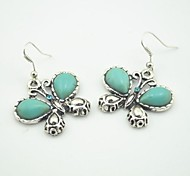 Toonykelly® Vintage Look Natural Turquoise Butterfly with Crystal Dangle Drop Earring(1 Pair)