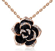 Party Jewelry 18K Rose/White Gold Plated Clear Austria Crystal Big Black Rose Flower Pendant Necklace
