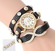 de tres capas de envoltura de pu analógico pulsera de cuero de las mujeres personalizadas del regalo reloj con diamantes de imitación grabado