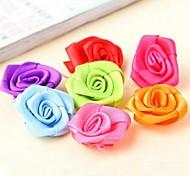 2.5cm DIY Handmade Satin Fabric Rose Cloth Flowers Ornaments (15Pcs Random Delivery)