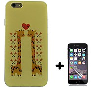 Giraffe Pattern Soft TPU with Screen Protector Case Cover for iPhone 6