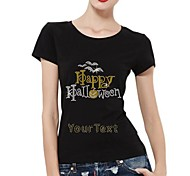 Personalized Rhinestone T-shirts Happy Halloween Pattern Women's Cotton Short Sleeves