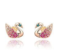 belle 18k plaqué or rose utilisation de bijoux brillant multi-couleur cristal autriche cygne boucles d'oreille roses