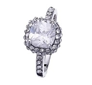 Fashion Platinum Plated Silver CZ Unsex Ring