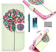 Coco padrão de árvore fun® balão de couro pu caso de corpo inteiro com filme, de pé e stylus para iphone 5 / 5s