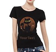 personifizierte Strass T-Shirts Halloween-Katze-Muster-Frauen Baumwolle mit kurzen Ärmeln