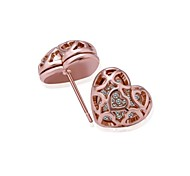 Fashion Heart Rose Gold Rose Gold-Plated Stud Earrings (Rose Gold)(1Pair)