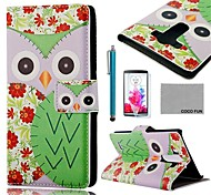 COCO FUN® Green Flower Owl Pattern PU Leather Full Body Case with Screen Protector, Stylus and Stand for LG G3 D850