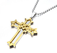 Love Thick Zinc Alloy Gold Silver Crucifix Cross Pendant Necklace