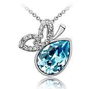 Beauty in Dream Lady's Short Necklace Plated With 18K True Platinum Aquamarine Crystallized Austrian Crystal Rhinestone