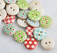 Coloured Drawing Scrapbook Scraft Sewing DIY Wooden Buttons(10 PCS Random Color)