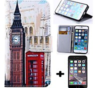 Wallet Style Big Ben PU Leather Full Body Cover with Screen Protector for iPhone 6