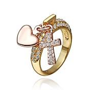 moda feminina de ouro anéis de strass moda (ouro) (1pcs)