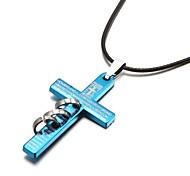 biblia cruz crucifijo tres anillos colgante collar de los hombres de aleación de cinc (tamaño de azar)