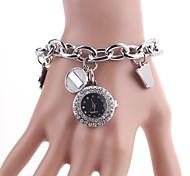 Women's Roundness  Diamante Pendant Dial  Chain Wristwatch C&D-164