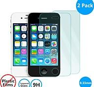 2 pack 0.26mm protector de la pantalla de vidrio templado con paño de microfibra para el iphone 4 / 4s