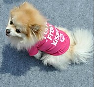 "Lovely ""I Give Free Kisses ""Pattern Rose Color T-Shirt for Pet Dogs (Assorted Sizes)"