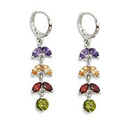 AAA+ 18K Platinum Gold Plated CZ Cubic Zircon Earrings for Women Multicolor CZ Stones Christmas Gift