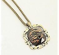European Leopard Print (Square)  Alloy Pendant Necklace (1 Pc)