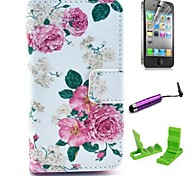 Beautiful Rose Flower Pattern PU Leather Case with Screen Protector and Stylus for iPhone 4/4S