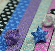2x 18 PCS Glitter Powder Fluorescent Effect Heart Pattern Lucky Star Origami Materials (Random Color)
