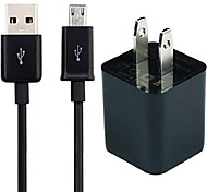 US Plug Dual USB Wall Charger with 1M Micro USB Charging Data Cable for Samsung Andriod Phones Tablets(Assorted Colors)