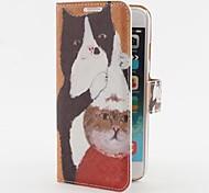 estojo de couro pu cabelo gatos corte padrão com slot para cartão de suporte e para o iPhone 6