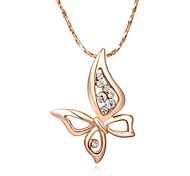Lovely 18K Rose/White Gold Plated Clear Austria Crystal Butterfly Pendant Necklace