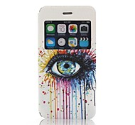Beautiful Eye Pattern One Window Clamshell PU Leather Full Body Case for iPhone 6