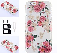 Pink Flowers Pattern Silicone Soft Cover for iPhone 6 Plus