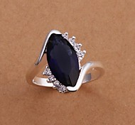 Personality Fashion Sapphire High Quality Copper Plating Ms 925 Silver Set Auger Ring