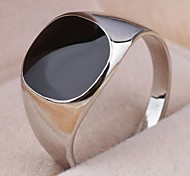 Vintage Contracted Alloy Square Black Oil Men's Statement Ring