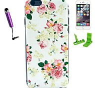 Rose Flower Pattern PC Hard Case with Stylus Pen and Screen Protector for iPhone 6