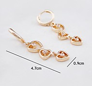18K Russia CC/585 Golden Plated Rose Color Heart Zircon Earrings