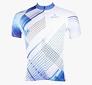 PaladinSport Men's Blue and White Stripes Spring and Summer Style 100% Polyester Blue Short Sleeved Cycling Jersey