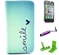 Smile Heart Pattern PU Leather Case with Screen Protector and Stylus for iPhone 4/4S