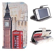 Big Ben and Red Gate Design PU Leather Case with Card Slot and Stand for iPhone 4s