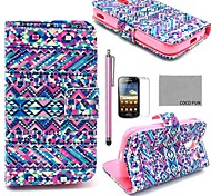 COCO FUN® Purple Tribal Carpet Pattern PU Leather Case with Screen Protector and Stylus for Samsung Galaxy Ace 2 i8160