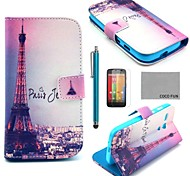 COCO FUN® Eiffel Tower In Night Pattern PU Leather Case with Screen Protector, Stylus and Stand for Motorala Moto G