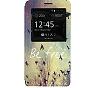 Be Free Words Birds Pattern PU Leather Open Window Full Body Case for Samsung Galaxy Note 4