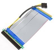 PCI-E 16x expresar 16x tarjeta vertical con extensor de alimentación IDE Molex&cinta de 20 cm de cable