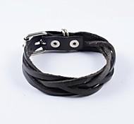 tejer pulseras de cuero negro de la PU de los hombres de la moda