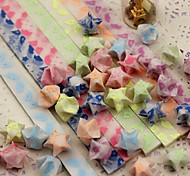 Fluorescent Effect Angel Wings Pattern Lucky Star Origami Materials(30 Pages/1 Color/Package Random Color)