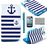 COCO FUN® Navy Blue Anchor Pattern PU Leather Case with Film and Stylus for Samsung Galaxy Core GT-I8260 I8262