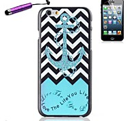 The Waves Ships Anchor Pattern Plastic Hard Back Cover for Stylus iPhone 6 Plus
